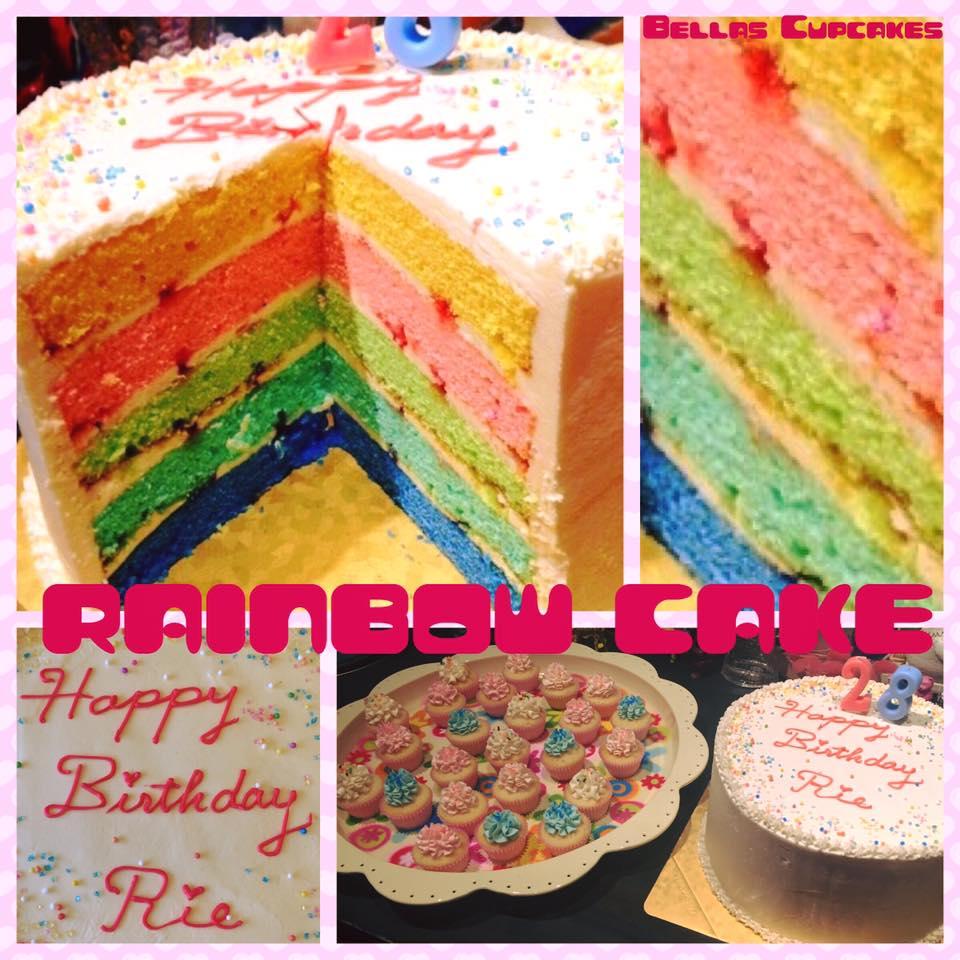 画像1: 5色のレインボーバニラケーキ (1)
